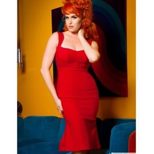 Pinup couture lipstick red wiggle dress xs